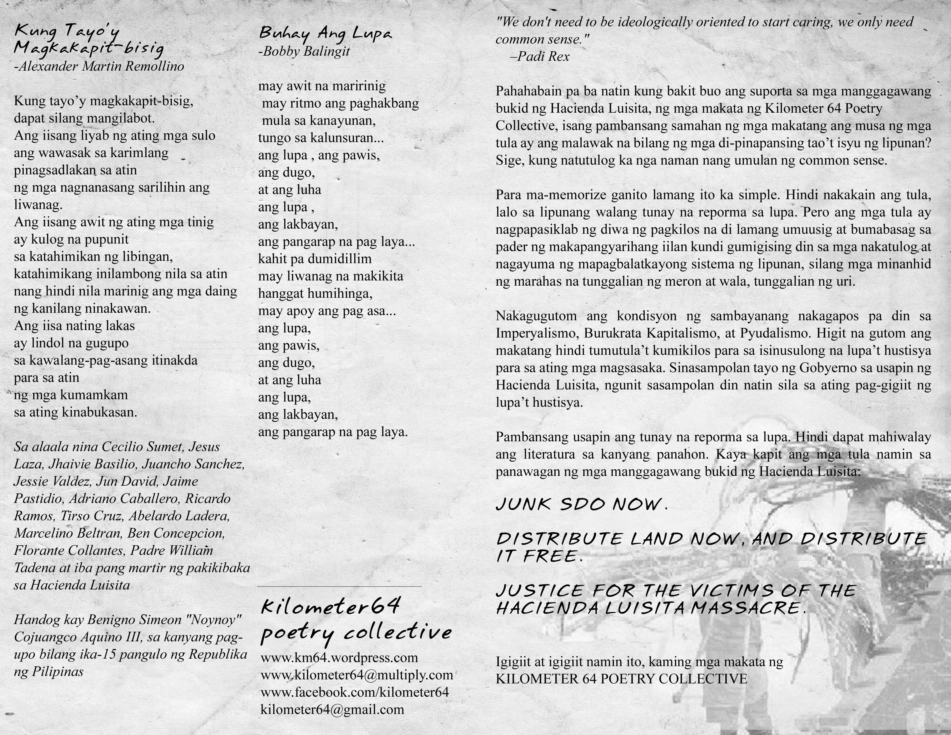 """hacienda luisita essay The up third world studies center organized a research workshop on 'violence, human rights and democracy in the philippines' i submitted a short essay in response to the workshop question: """"based on your knowledge of and experience in your locality, do you think that the duterte ."""